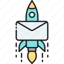 direct, email, letter, mail, mailing, rocket icon