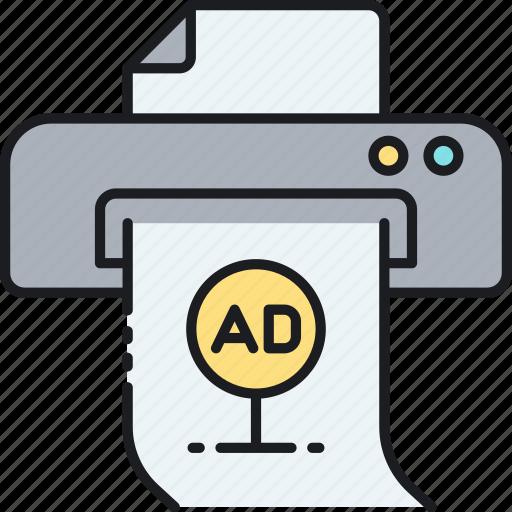 print ad, print advert, print advertisement, print advertising, printer icon