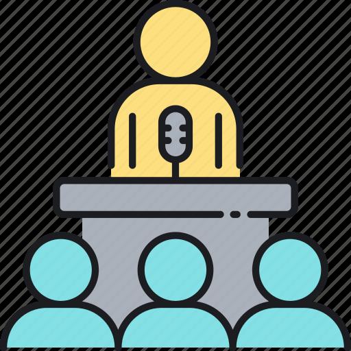 lecture, presentation, press secretary, speaker, speech, talk icon