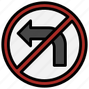 left, no, turn, traffic, signaling, miscellaneous, sign icon
