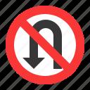 guide, no u-turn, prohibitory, road sign, traffic, traffic sign, warning icon
