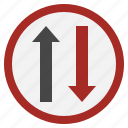miscellaneous, way, alert, signaling, traffic, two, sign icon