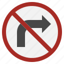 right, turn, miscellaneous, regulation, no, traffic, sign icon