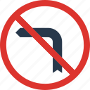 forbidden, left, sign, traffic, transport, turn icon