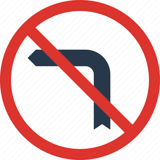 forbidden, left, sign, traffic, transport, turn icon