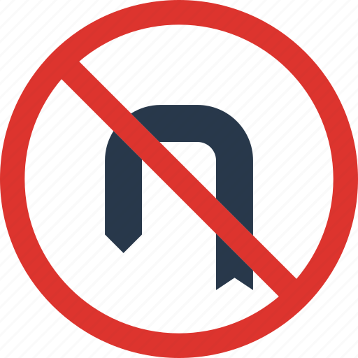 around, forbidden, sign, traffic, transport, turn icon