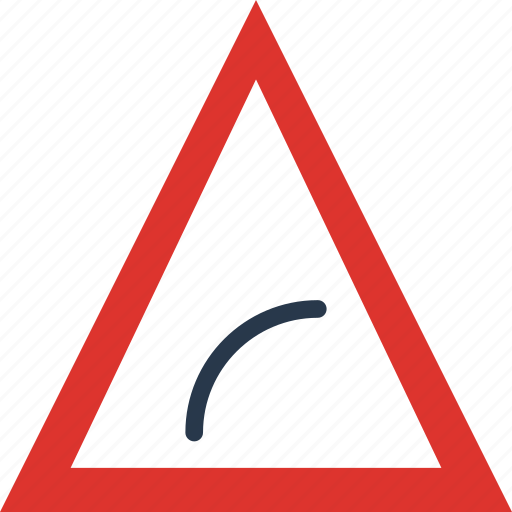 bend, right, sign, to, traffic, transport icon