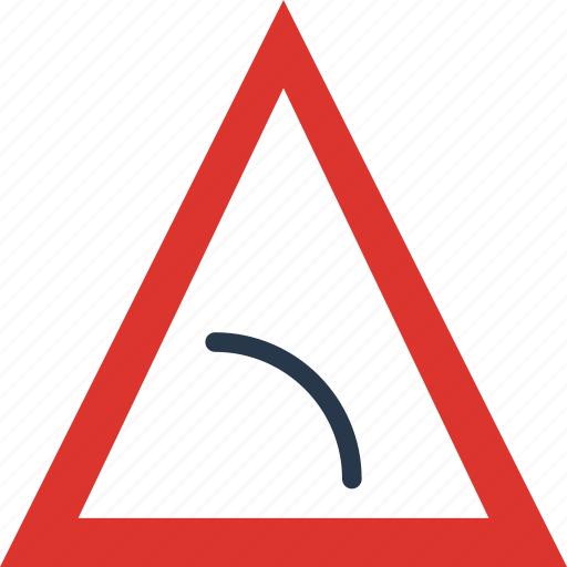 bend, left, sign, to, traffic, transport icon