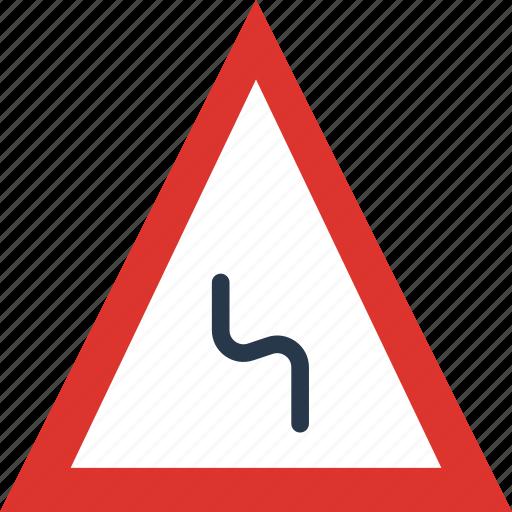 bend, left, reverse, sign, traffic, transport icon