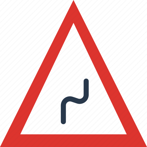 bend, reverse, right, sign, traffic, transport icon