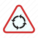 arrow, circle, road, round, sign, traffic icon