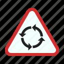 arrow, circle, road, round, sign, traffic icon