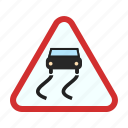 road, sign, slippery, snow, traffic, warning, wet icon