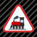 crossing, railroad, railway, road, sign, stop, train
