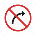 red, right, road, sign, traffic, transportation icon