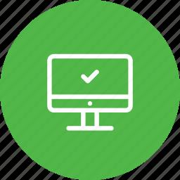 accept, activity, bank, laptop, transaction, transfer, verify icon