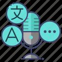 interpret, language, microphone, translate icon