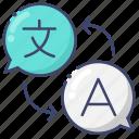 interpretation, language, translation icon