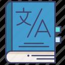 dictionary, language, linguistic, translate icon