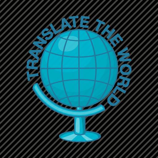 cartoon, global, globe, language, speak, translation, travel icon