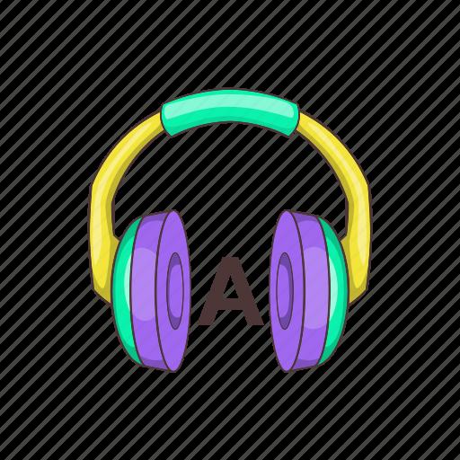 cartoon, concept, education, head-phones, language, learn, online icon