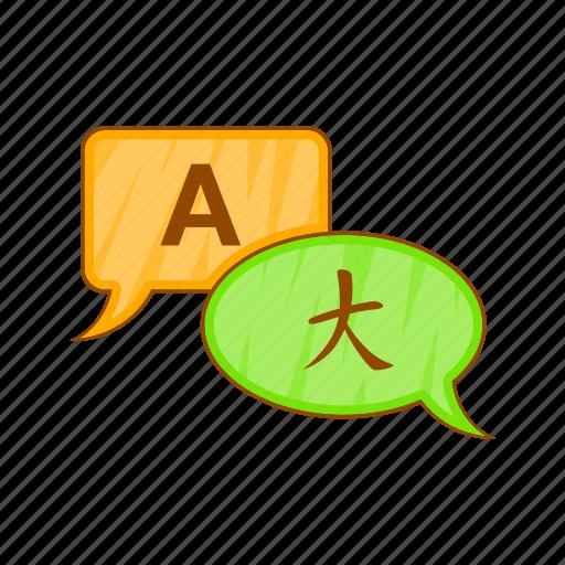bubble, cartoon, english, japanese, long, speech, translation icon