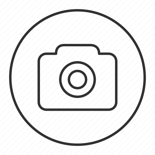 camera, gallery, grey, photo, round, transparent icon