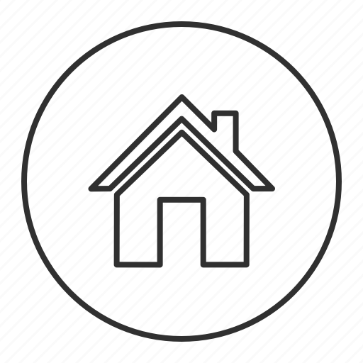 grey, home, house, main, round, transparent icon