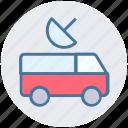 film, photo, record, satellite, transport, truck, tv van icon