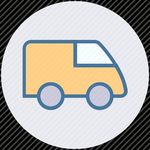 goods transport, poultry van, shipping, transport, travel, truck, van icon