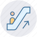 arrow, escalator, lift, staircase, stairs, up