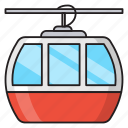 transport, travel, ropeway, chairlift, cableway icon