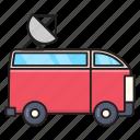 pressvan, transport, satellite, auto, vehicle