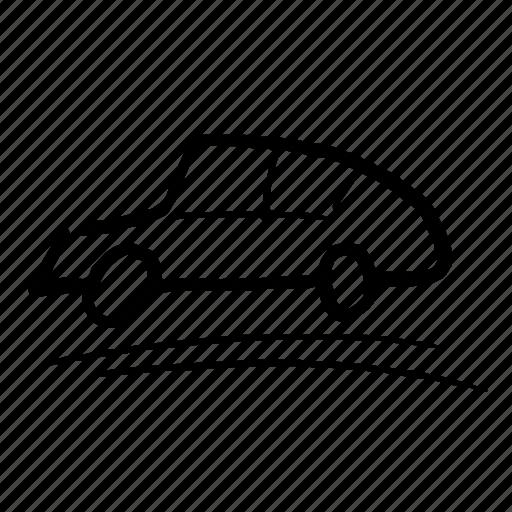 car, drive, handdrawn, profile, side of car, transport, travel icon