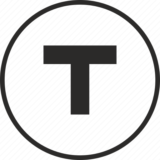 round, sign, t, taxi, trasport icon