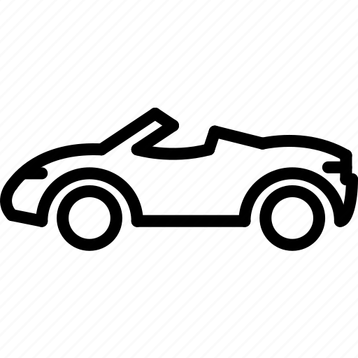 car, convertable, outline, transport icon