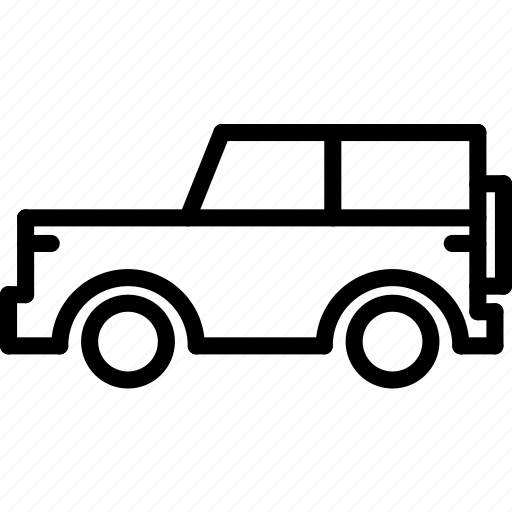 jeep, outline, transport icon