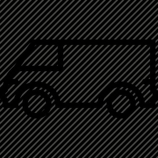 large, outline, transport, van icon