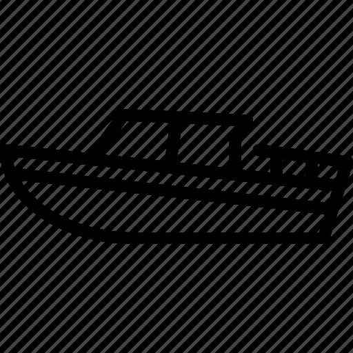 boat, motor, outline, transport icon