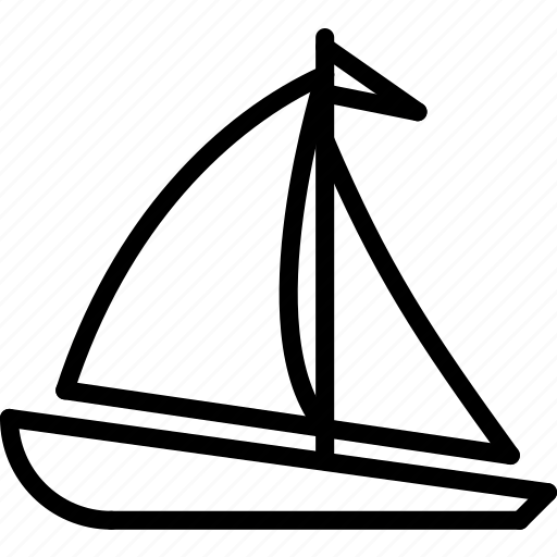 boat, outline, sail, transport icon