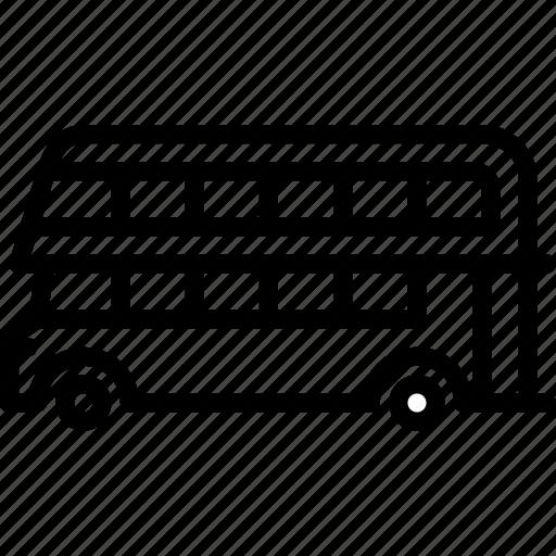 bus, decker, double, outline, transport icon