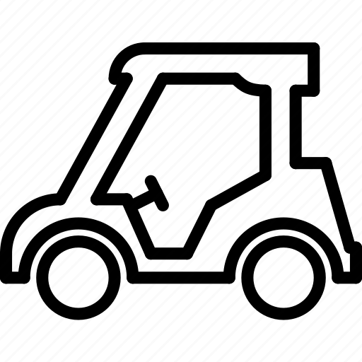 cart, golf, outline, transport icon