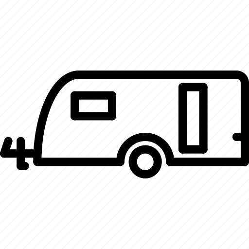 caravan, outline, transport icon