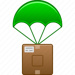 chute, drop, landing, parachute, parachutism, sky diving, skydiving icon