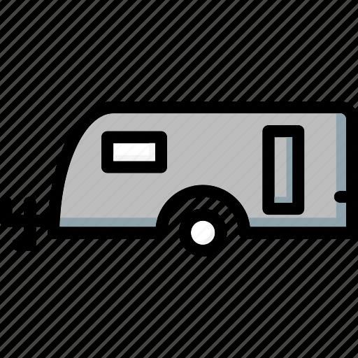 caravan, colour, transport, ultra icon