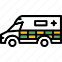 ambulance, colour, transport, ultra icon