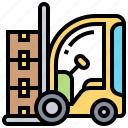 cargo, forklift, loading, truck, warehouse