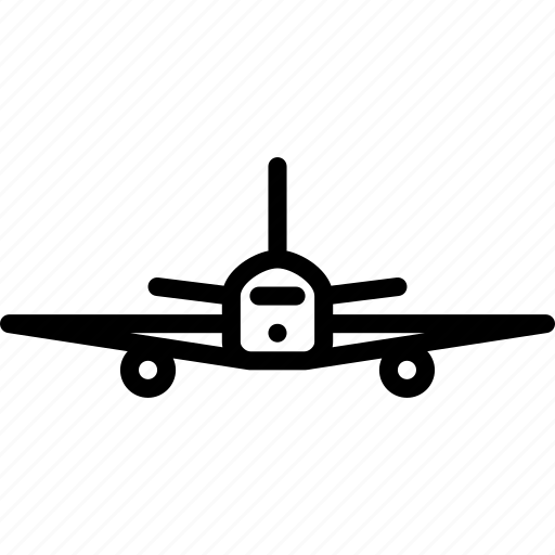 airplane, cargo, fly, front, glide, people, transport icon