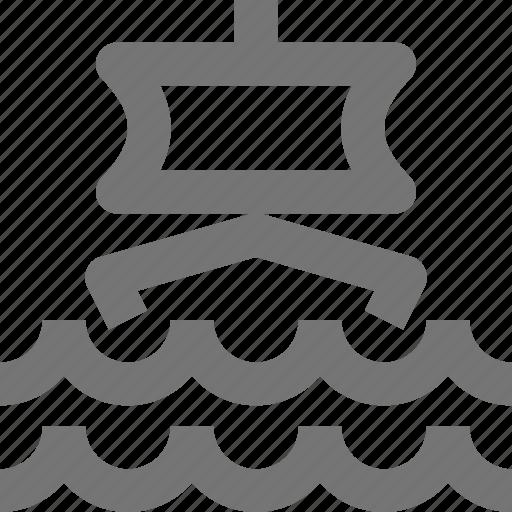 boat, sail, sailing, transportation, waves icon