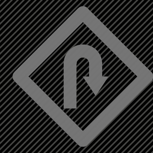 arrow, sign, u turn icon